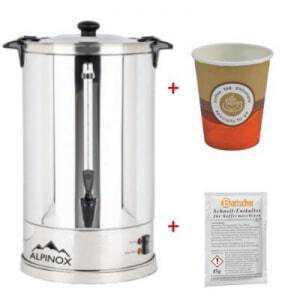 Pack Percolateur à Café Professionnel 14 L - Aroma - 110 Tasses et Filtre Permanent Alpinox - 1