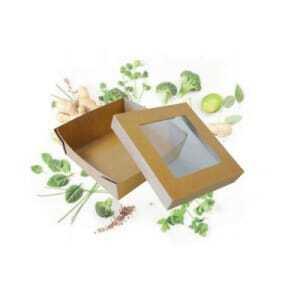 Lot de 250 - Boîte Repas à Fenêtre 190 x 190 - Ecoresponsable FourniResto - 1
