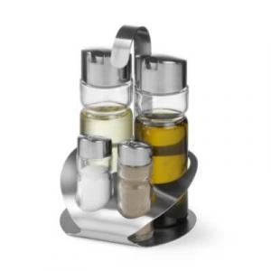 Menage Set 4-teilig - Essig, Öl, Salz und Pfeffer